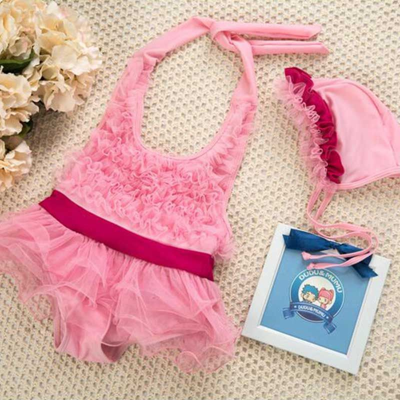 Pink Ruffled Halter Neck SwimSuit Set | Baby Swimsuits Online India ...