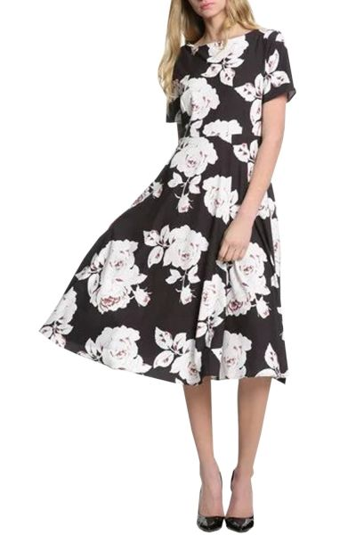 0187516cae59 Chic Floral Print Boat Neck Short Sleeve Midi Dress - OASAP.com ...