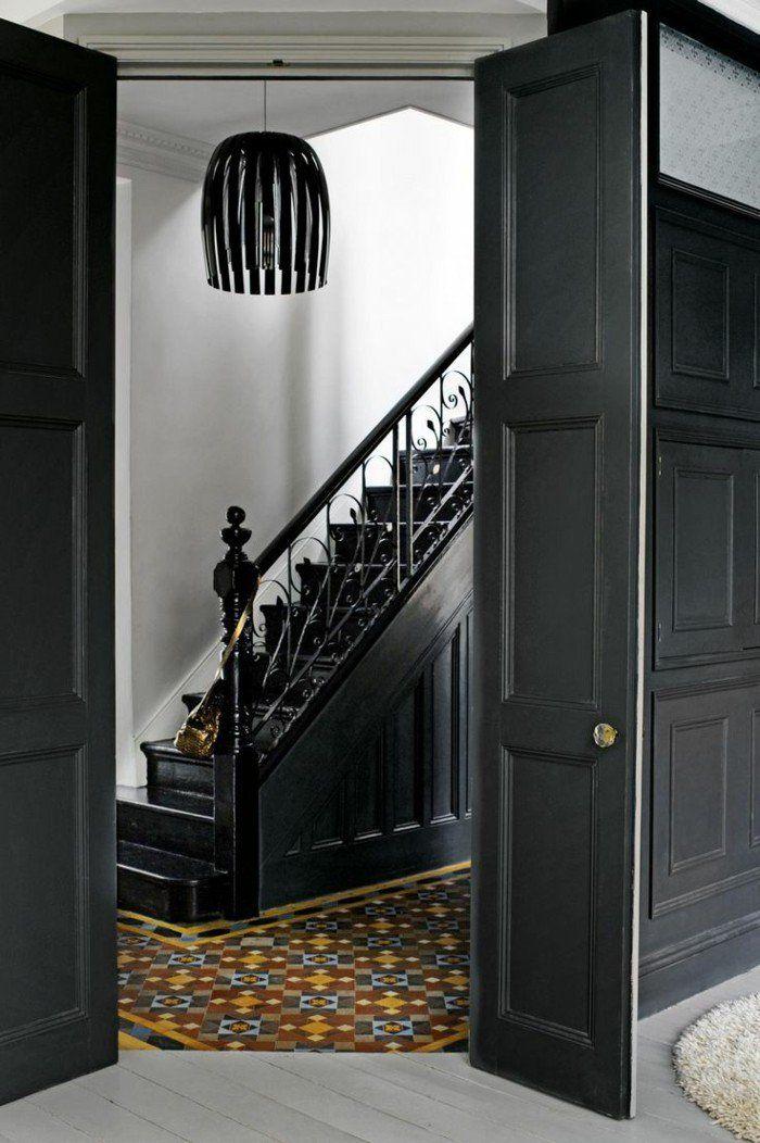Le gris anthracite en 45 photos d 39 int rieur escaliers int rieur gris couloir gris et - Porte interieur gris anthracite ...