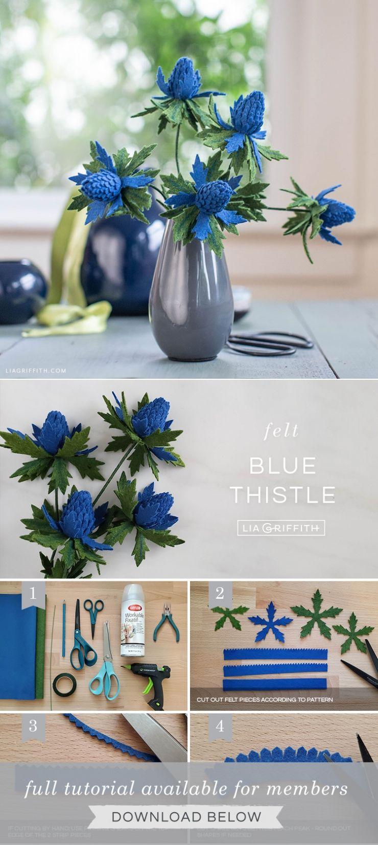 Felt Blue Thistle Flower Pattern & Tutorial - Lia Griffith #feltflower