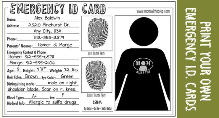 Emergency ID Cards Free Download Emergency kit, Id