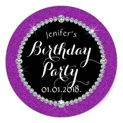 Glitter birthday sticker
