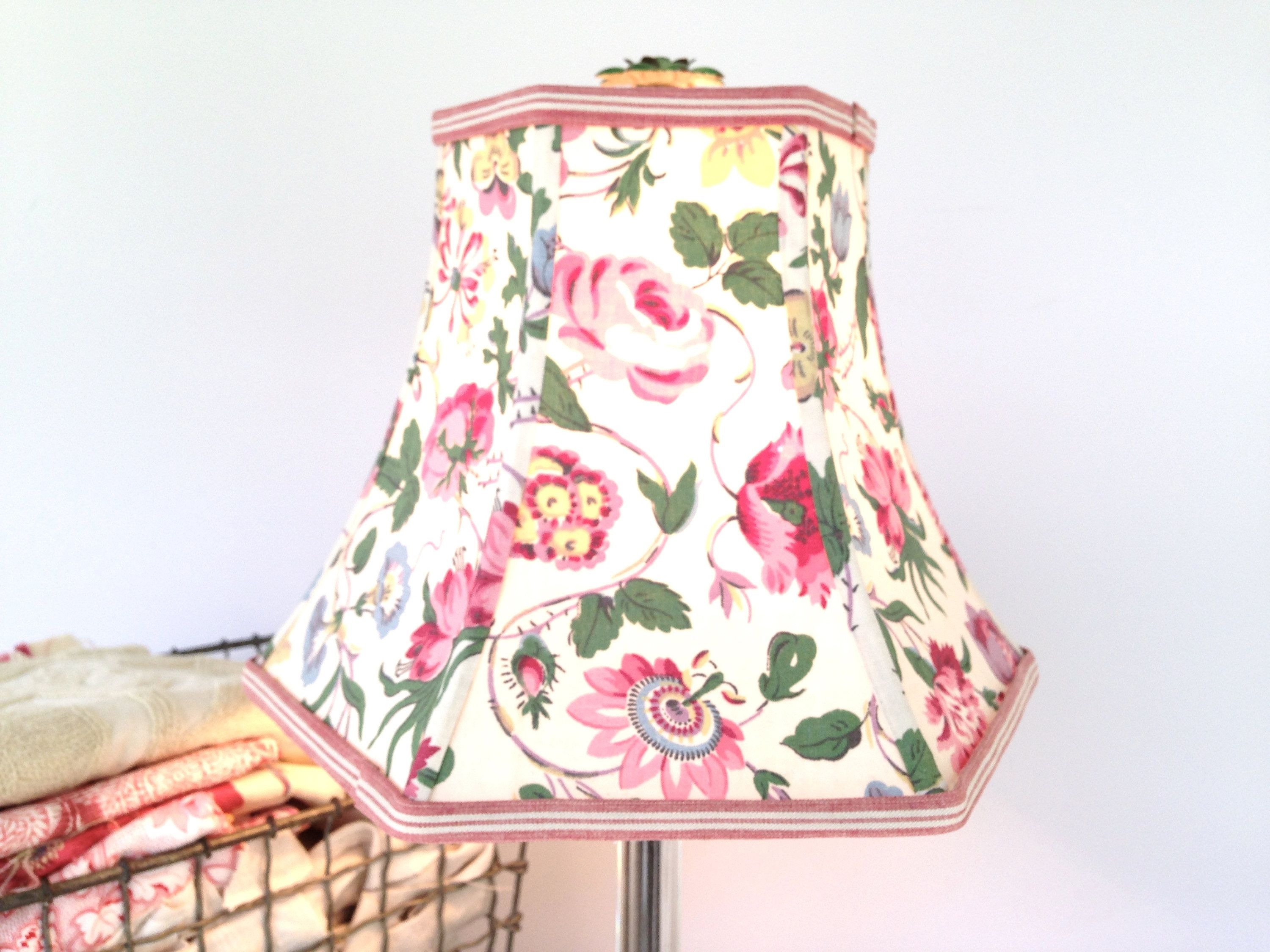 Pion Flower Primrose Lampshade Pink And Green Lamp Shade Hex Bell Boudoir Size