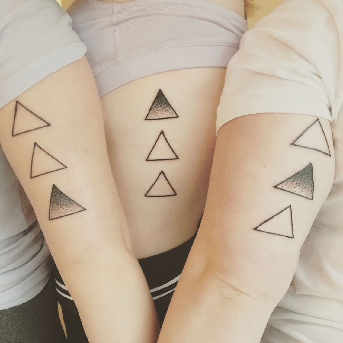 Perfect Tattoo For Three Sisters With The Shading Showing Their