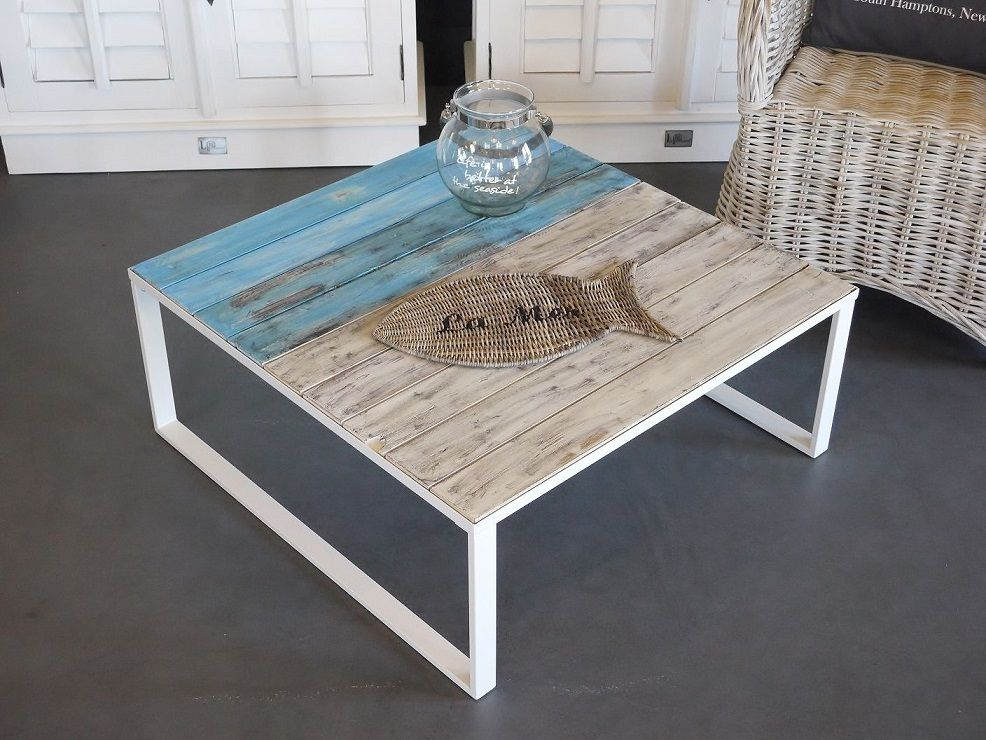 Couchtisch Coffeetable Maritim Shabby Chic Metall Holz