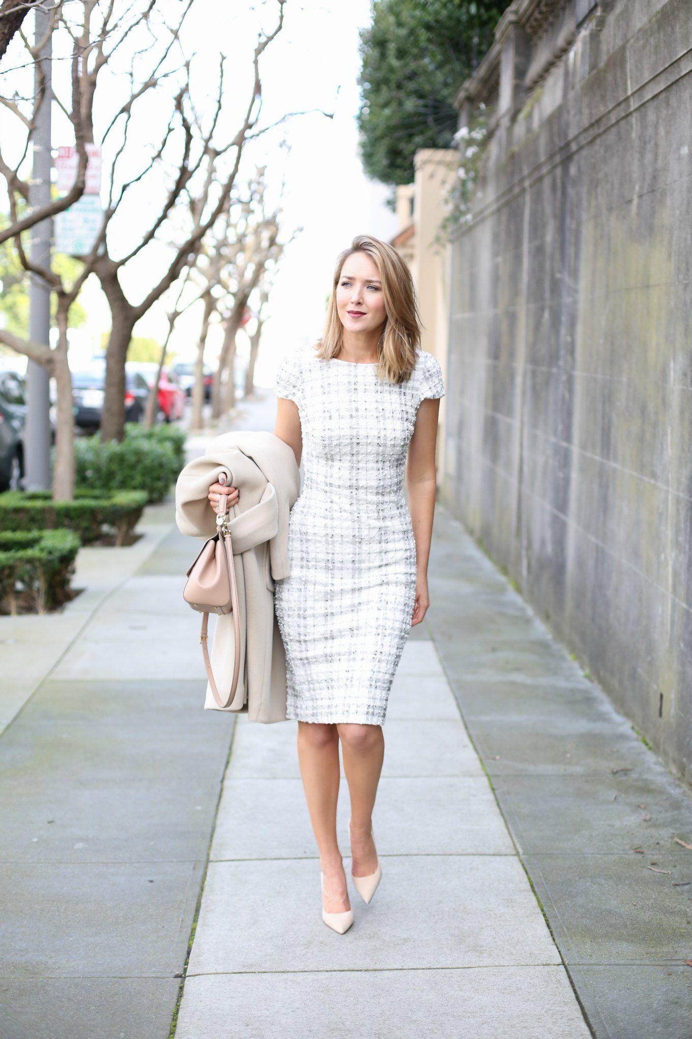 Ivory Plaid Sheath Dress Work Outfits Women Dresses For Work Office Wear Dresses