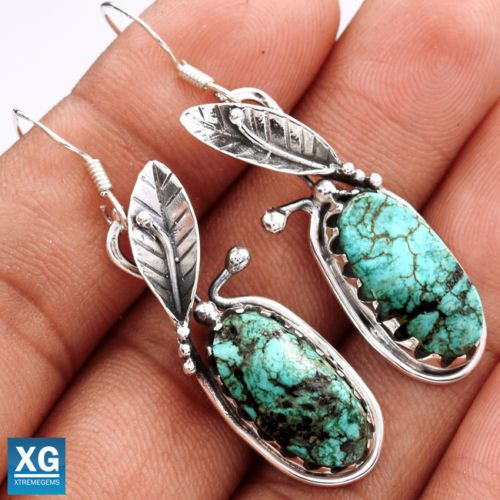 Lucky-Charm-Tibetan-Turquoise-925-Sterling-Silver-Earrings-Jewelry-SE38816