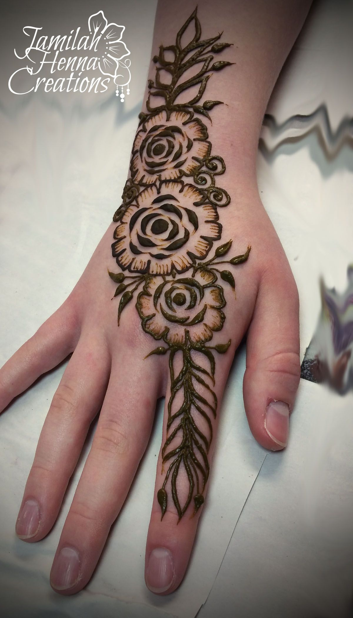 Gulf Rose Henna Www Jamilahhennacreations Com Henna Flower Designs Simple Henna Flower Henna