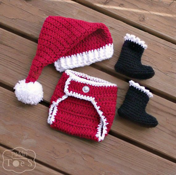 Crochet Santa Outfit - Baby Santa Outfit - Santa Baby - Santa Hat ...