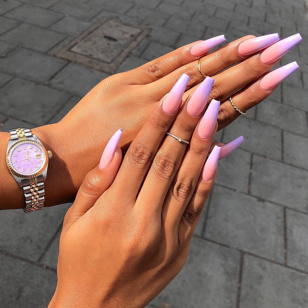 Pink Purple Long Coffin Nails Follow For More Pinterest Selfcareoverload Ombre Acrylic Nails Purple Ombre Nails Pink Ombre Nails
