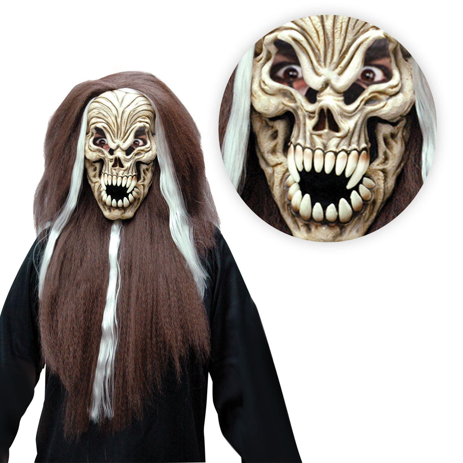 Details about Long Hair Skull Reaper Demon Mask Zombie Horror ...