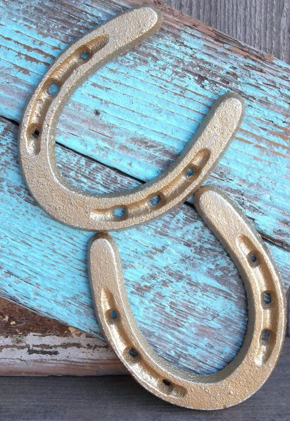 Cast Iron Gold Horse Shoe Paper Weight Wall Decor By