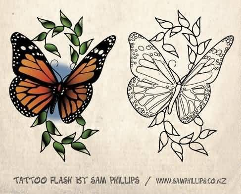 2dec4fcee Colorful And Outline Ink Monarch Butterfly Stencil Tattoo Design ...