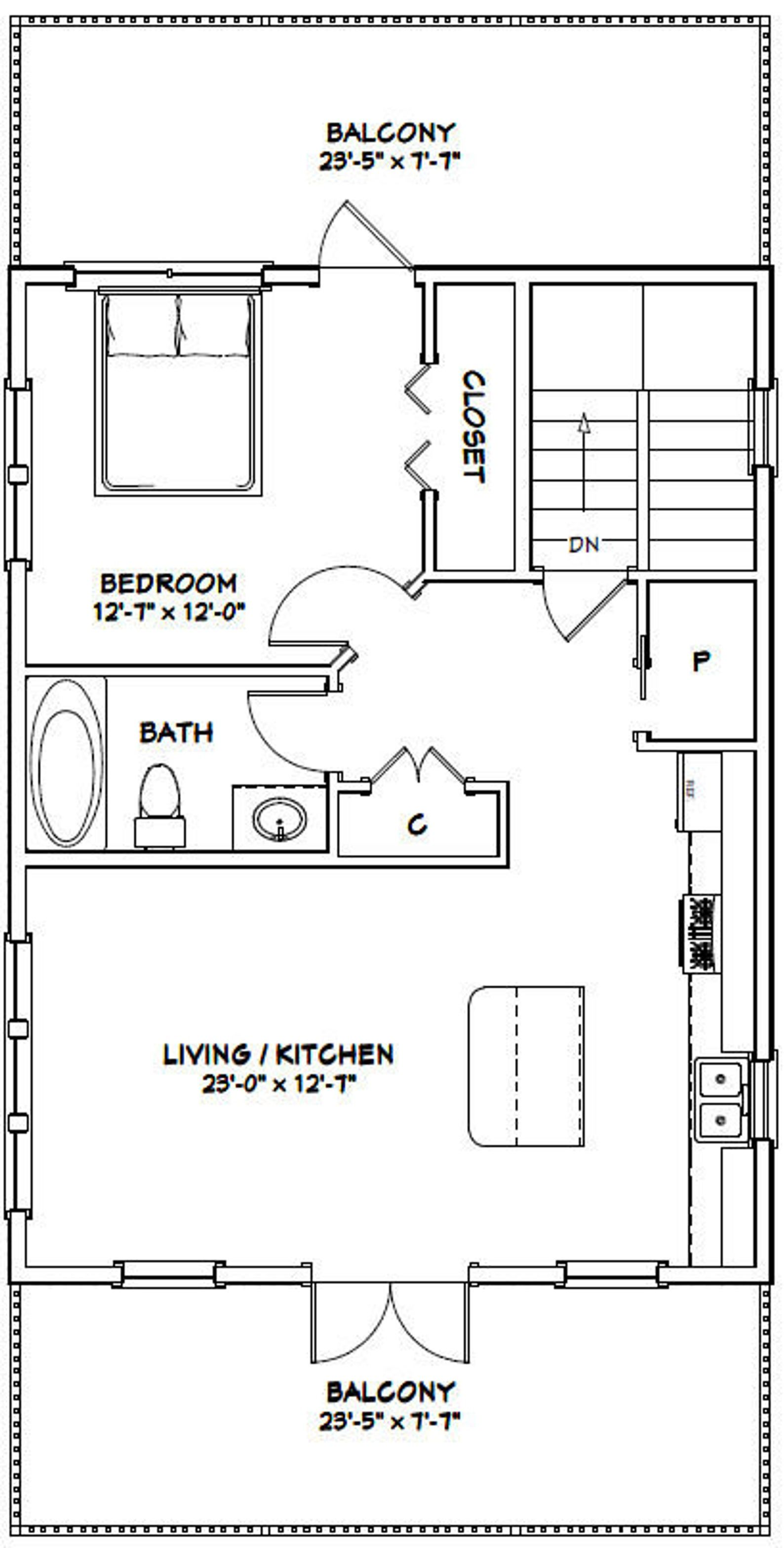 24x32 House 1 Bedroom 1 5 Bath 830 Sq Ft Pdf Floor Plan Instant Download Model 9a Floor Plans Garage Apartment Floor Plans Garage Apartment Plans