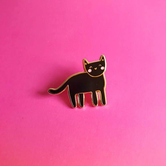 Metal Enamel Pin Badge Brooch Cat Black Feline Kitten Kitty Blackcat