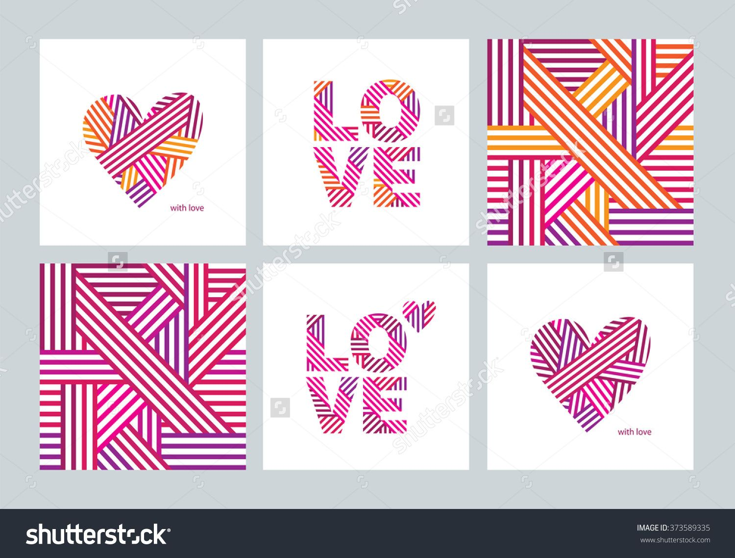 Set Of Greeting Cards With Valentines Day Mothers Day