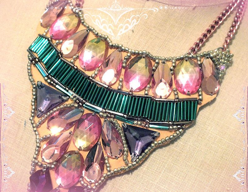 Jeweled pastel bohemian bib necklace by Bombay Mermaid Trading Co. Available now! #tropical #india #bollywood #bindi #boho #summer #neon #pink #turquoise #beach #bohemian #mermaid