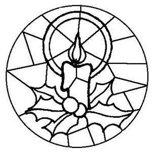 Free Kids Christmas Coloring Pages Stained Glass Candle P