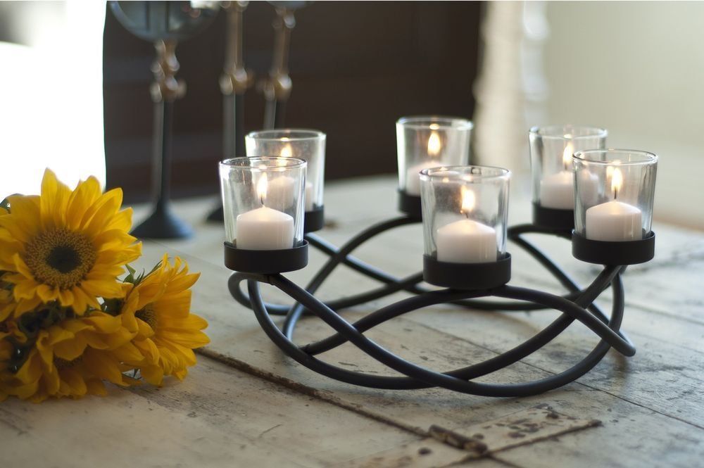 Fireplace Candle Holder Black Wrought Iron Tyres2c