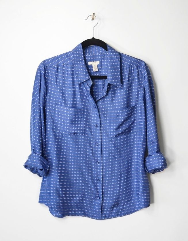 fdb6ad58ef716 J.CREW Collection Blue Silk Blythe Blouse in Pebble Dot - EUC - 10 ...