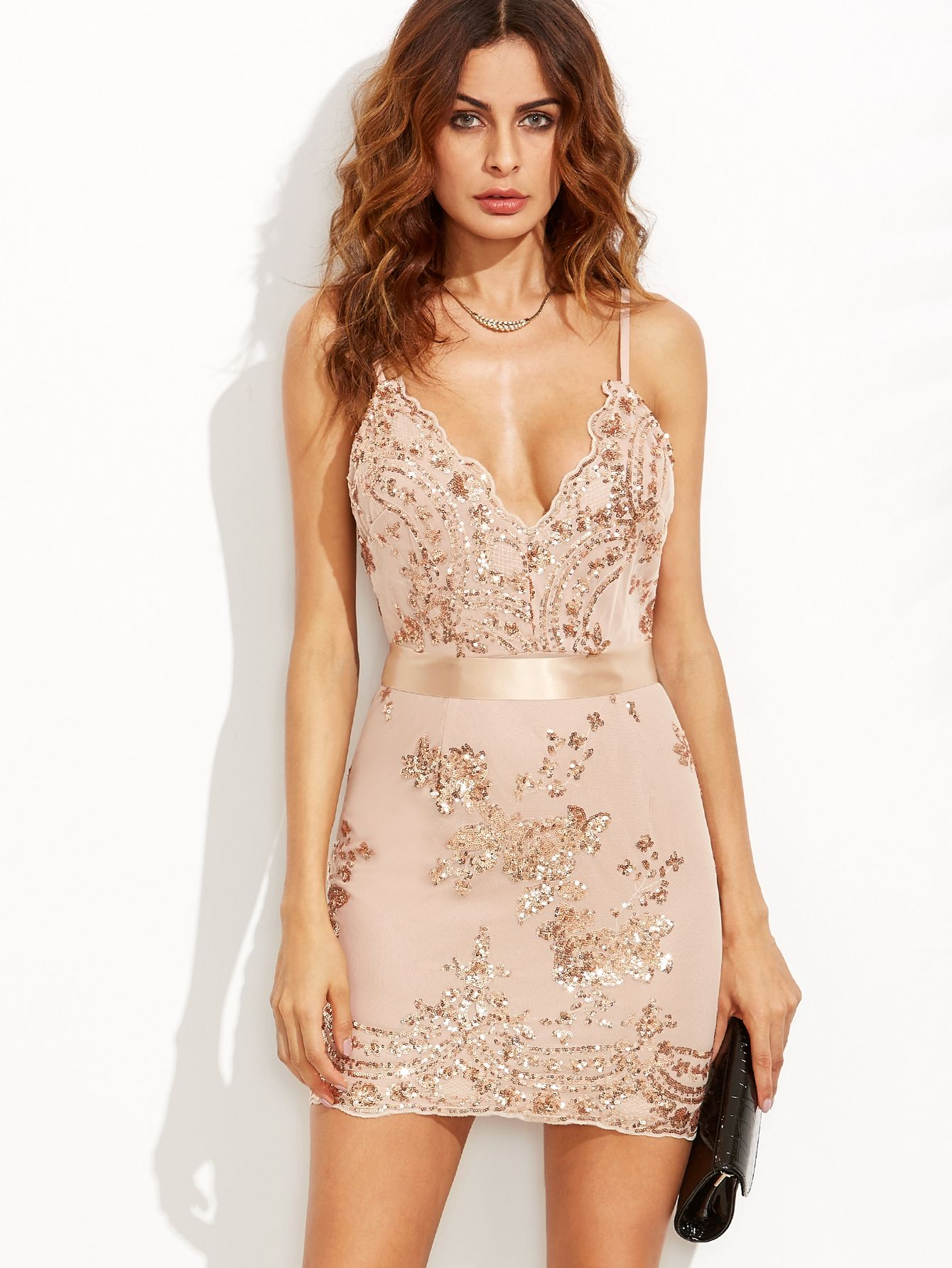 Shop Gold Spaghetti Strap Open Back Sequins Bodycon Dress online. SheIn  offers… bfe0486a0ed7