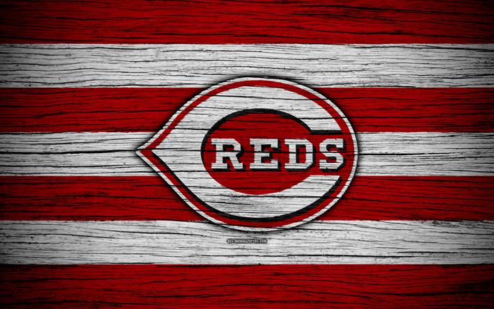hot sale online 2e104 8f497 Download wallpapers Cincinnati Reds, 4k, MLB, baseball, USA, Major League  Baseball, wooden texture, art, baseball club
