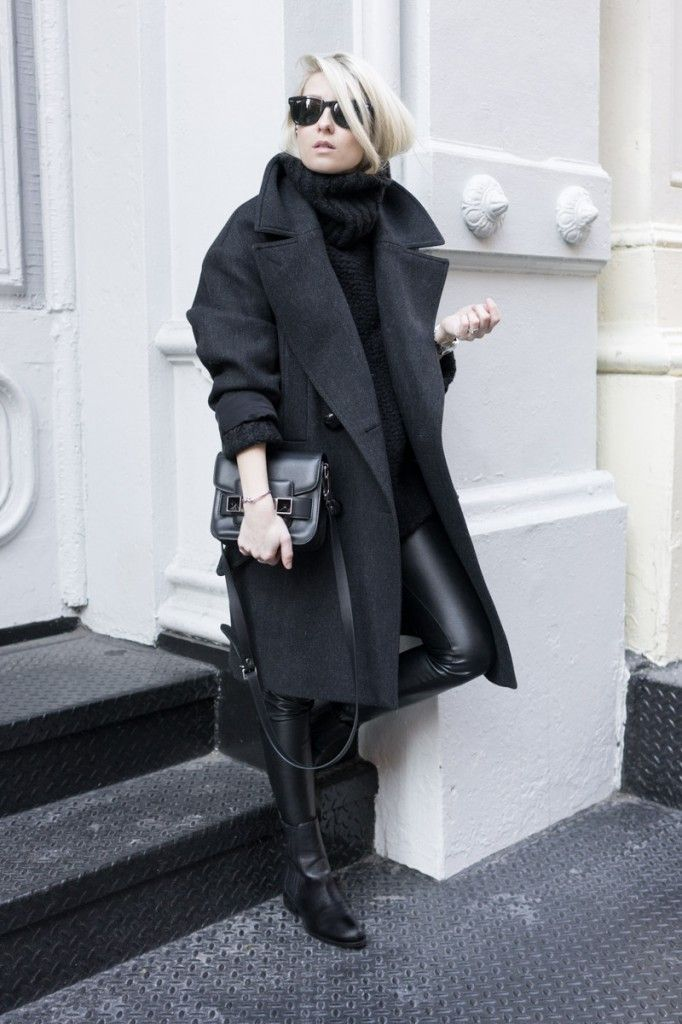 Try teaming a black coat with black leather leggings for both chic and easy-to-wear look. Finish off your look with black leather chelsea boots. Shop this look for $97: http://lookastic.com/women/looks/sunglasses-turtleneck-coat-crossbody-bag-leggings-chelsea-boots/7728 — Black Sunglasses — Black Knit Turtleneck — Black Coat — Black Leather Crossbody Bag — Black Leather Leggings — Black Leather Chelsea Boots