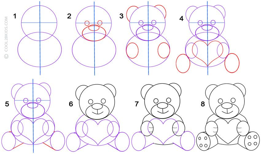 How To Draw A Teddy Bear Step By Step Pictures Cool2bkids