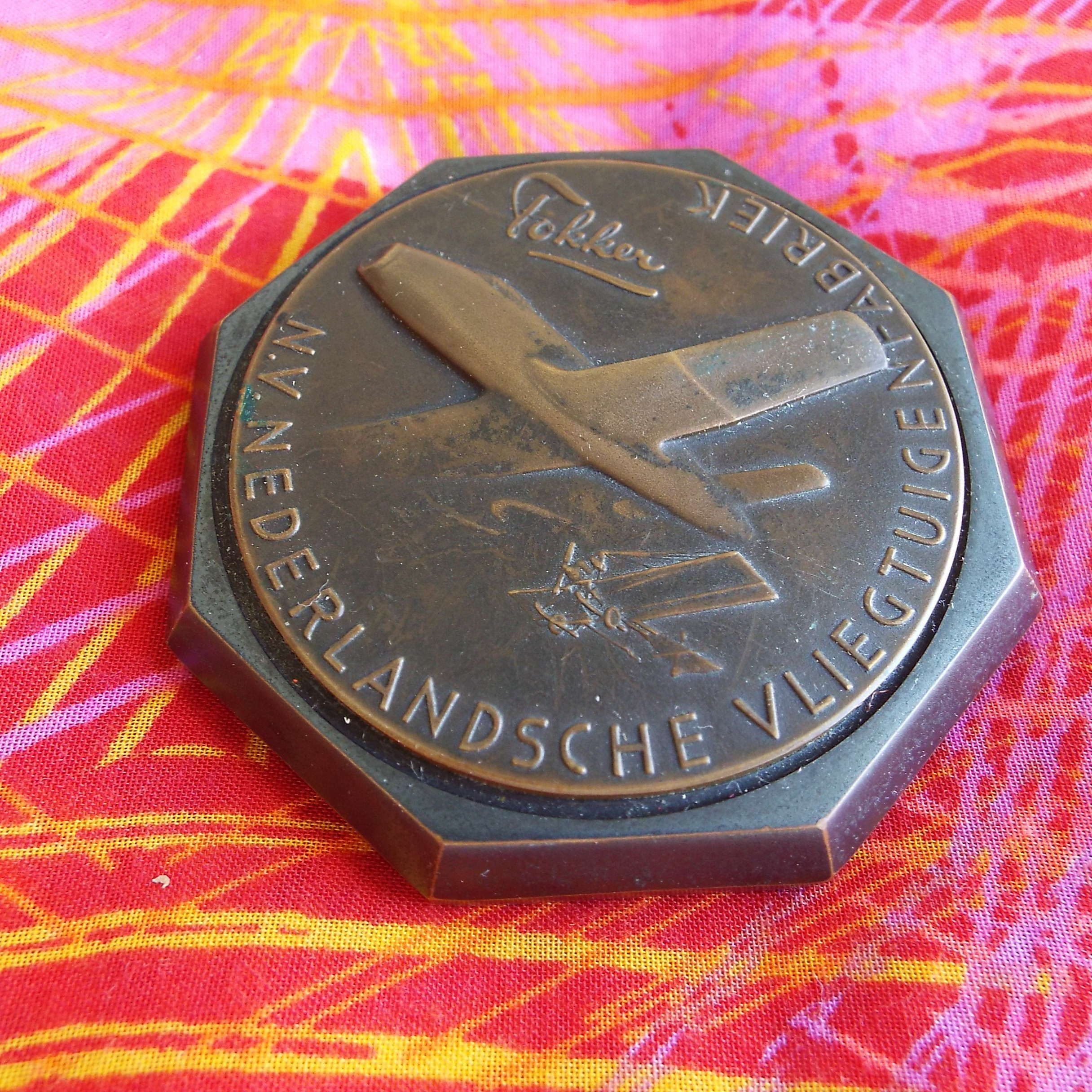 "Rare Vintage 1950's ""Fokker"" Aircraft Airplane Bronze"