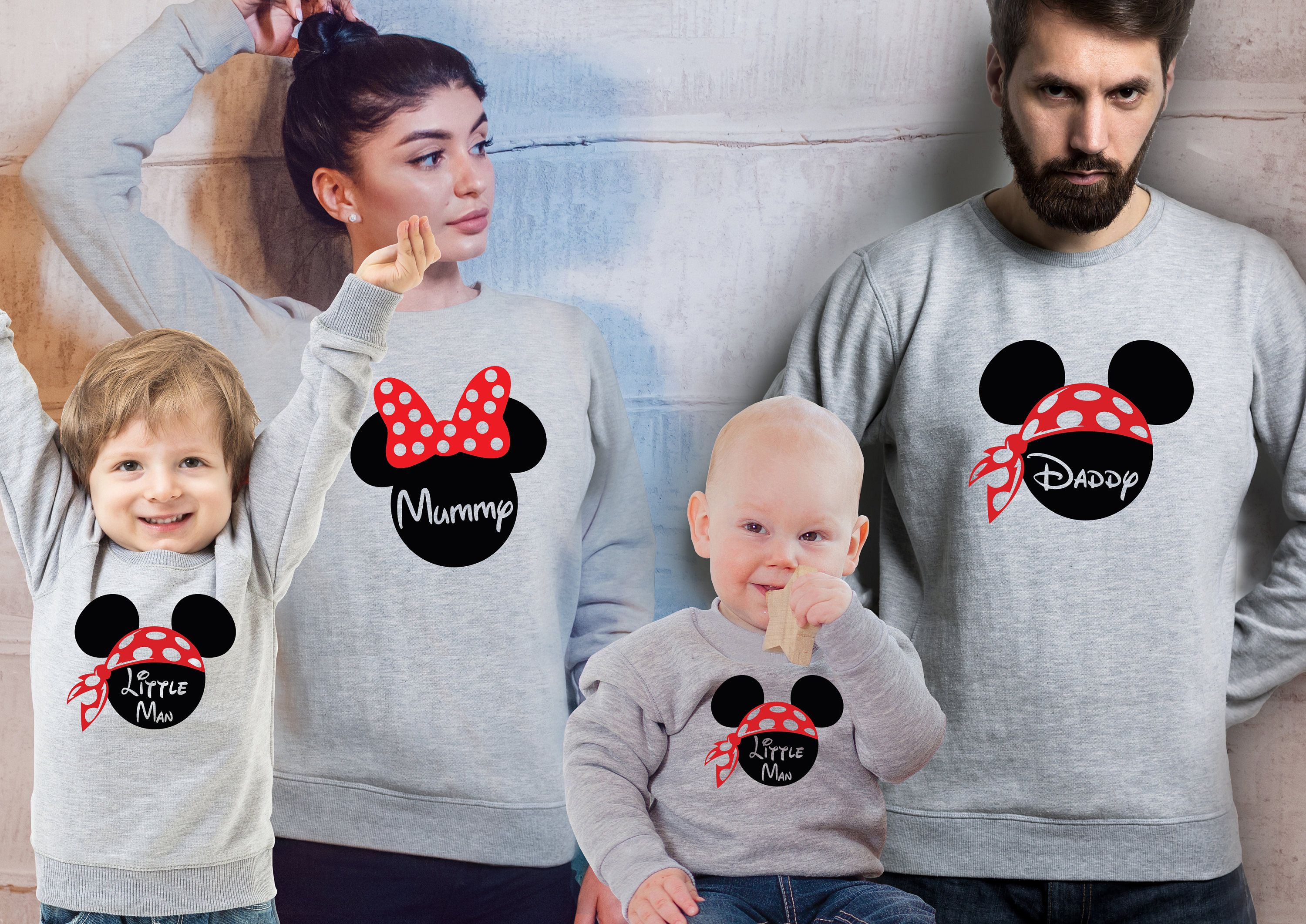 Customized Family matching Disney Mickey Mouse heather grey sweatshirts. Set of 3, 4 or 5.