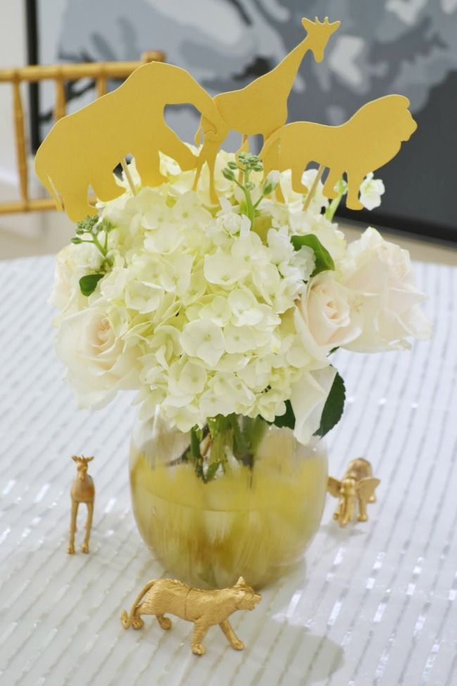 Golden Safari Themed Animal Baby Shower Flower Arrangements
