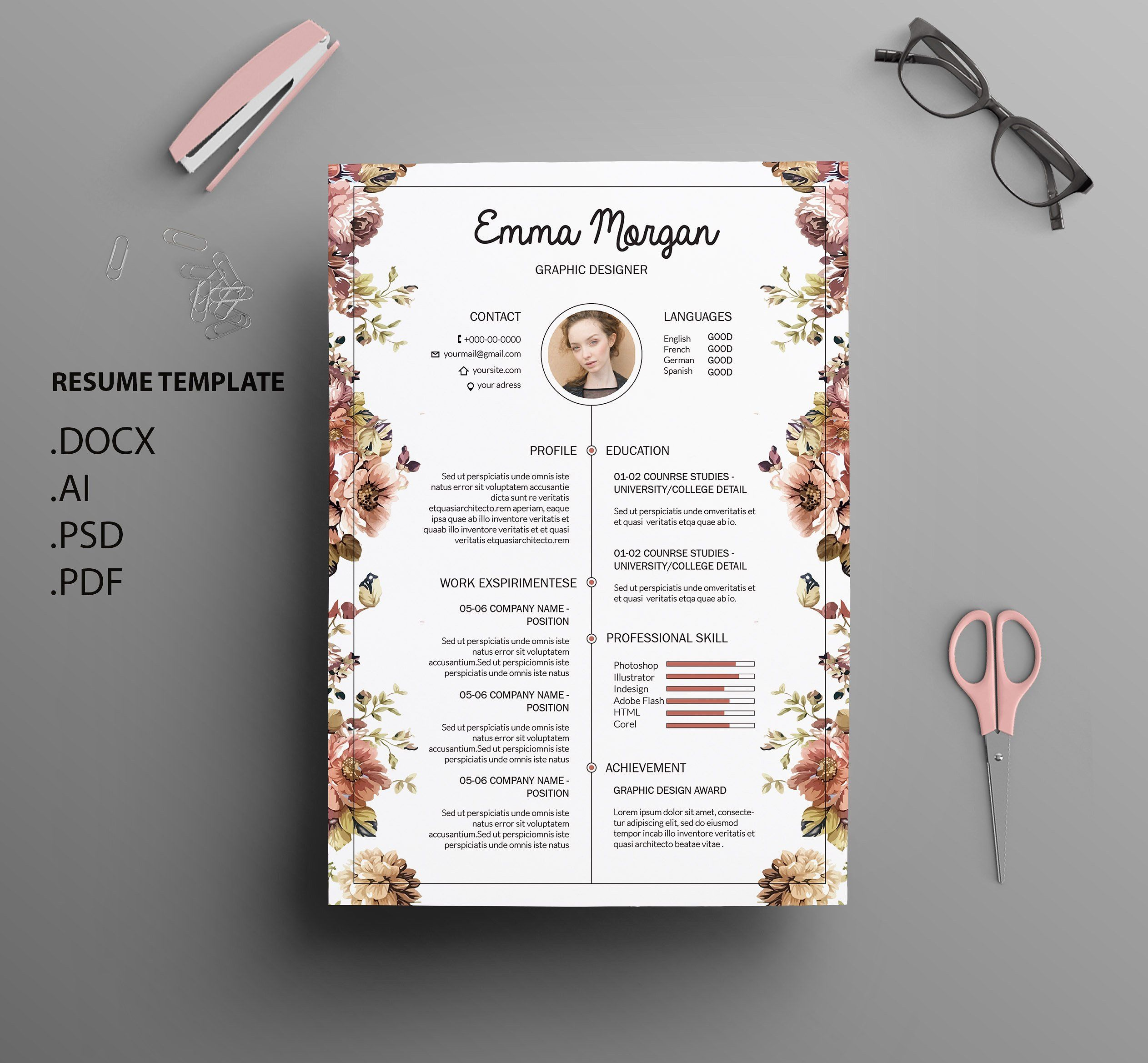 Floral Side Cv Resume Template M Resume Design Creative Resume Template Creative Cv