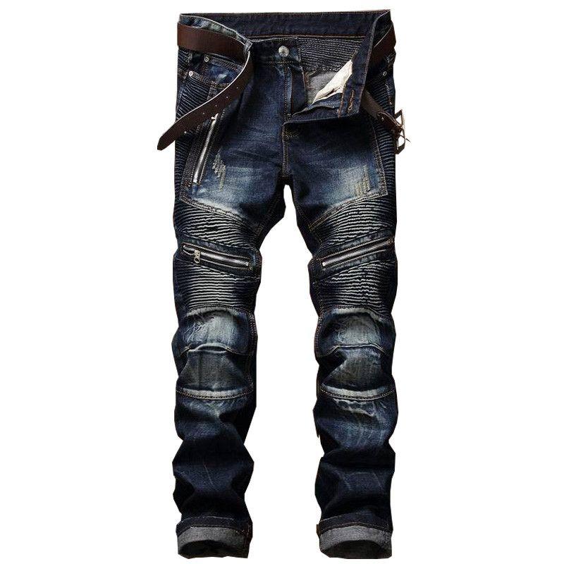 Mens Jet Black Slim Tapered Denim Jeans Stretch Pockets Colored Pants Biker Moto
