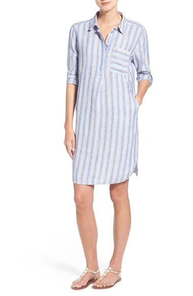 Caslon® Linen Popover Shirtdress (Regular & Petite) available at #Nordstrom
