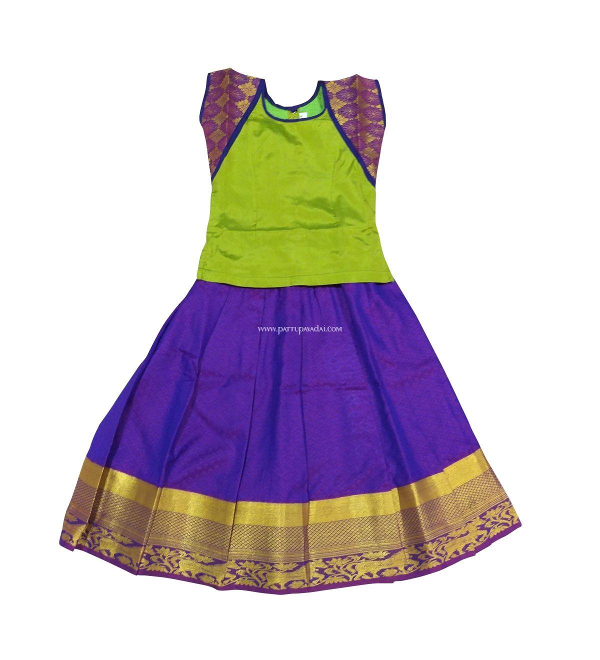Unique Trendy Pattu Pavadai In Parrot Green And Blue Colour Great Design And Premium Clothin Kids Dress Wear Kids Blouse Designs Latest Lehenga Blouse Designs