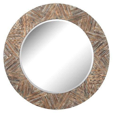 Lazy Susan Round Wicker Decorative Wall Mirror