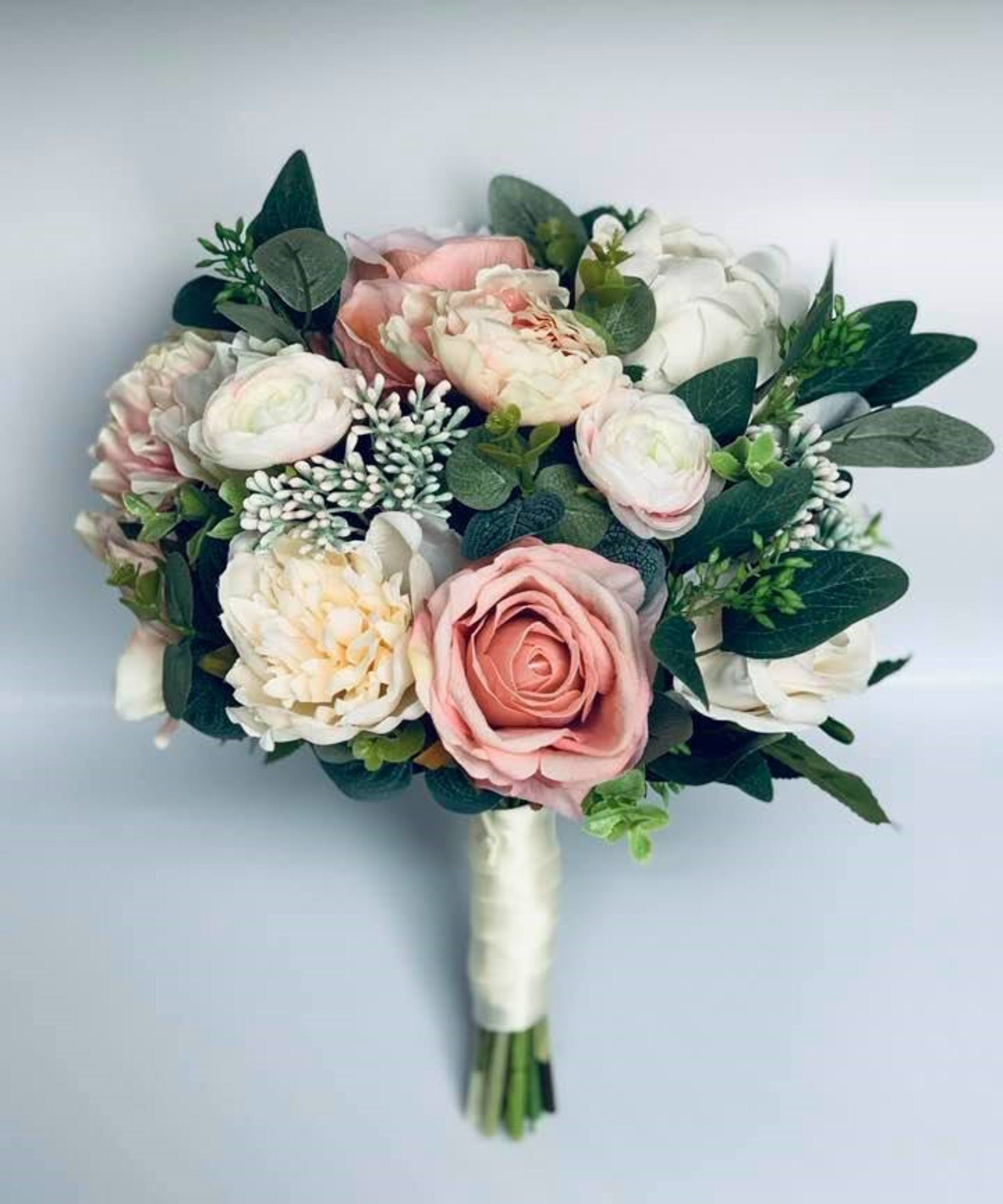 Stella Artificial Pink Peach Bridal Wedding Bouquet Blush Pink Silk Flower Bouquet Rus Artificial Wedding Bouquets Rustic Bridal Bouquets Silk Flowers Wedding