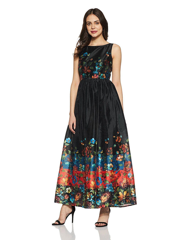 70fa56269e Label Ritu Kumar Womens Round Neck Sleeveless Maxi Dress  Amazon.in   Clothing   Accessories