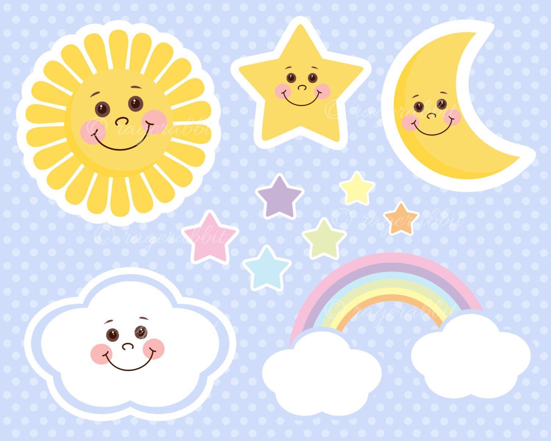 Sun Baby Vector Illustrations Clouds Rainbow Stars