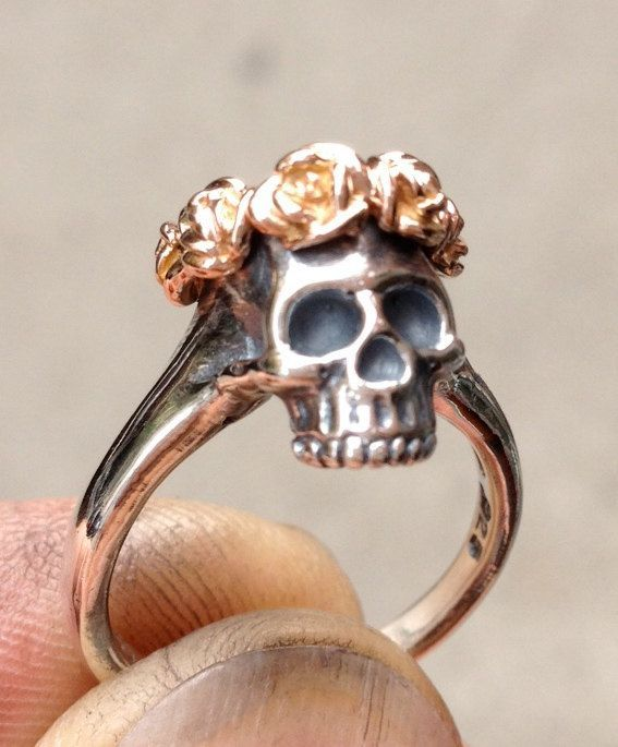 Skull w/ gold Rose Crown Sterling Silver Ring