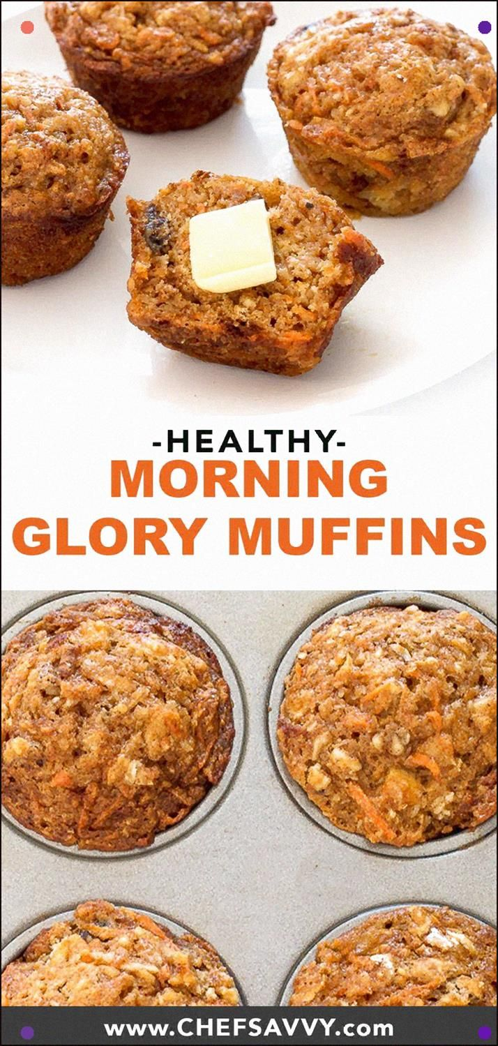 Morning Glory Muffins. They Are Super Easy To Make And Are Perfectly Tender And Moist. Stacked With Nutritious Ingredients Like Shredded Carrots, Apple, Walnuts And Coconut Oil. Ideal For Breakfast Or As A Snack #Muffins #Morningglory #Healthy #Snack #Breakfast #Recipe