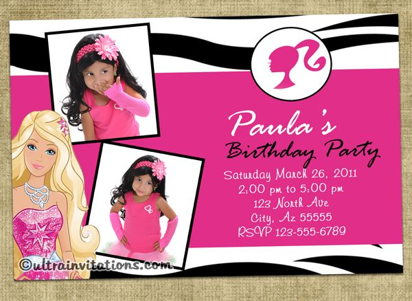 Sample Invitation Barbie Design Template For Seventh Birthday Barbie Invitations Princess Birthday Invitations Printable Birthday Invitations