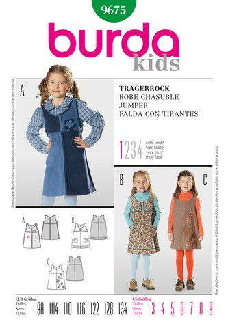 Burda Pattern: BD9675 Girls\' Dungaree Dress | Very Easy — jaycotts ...