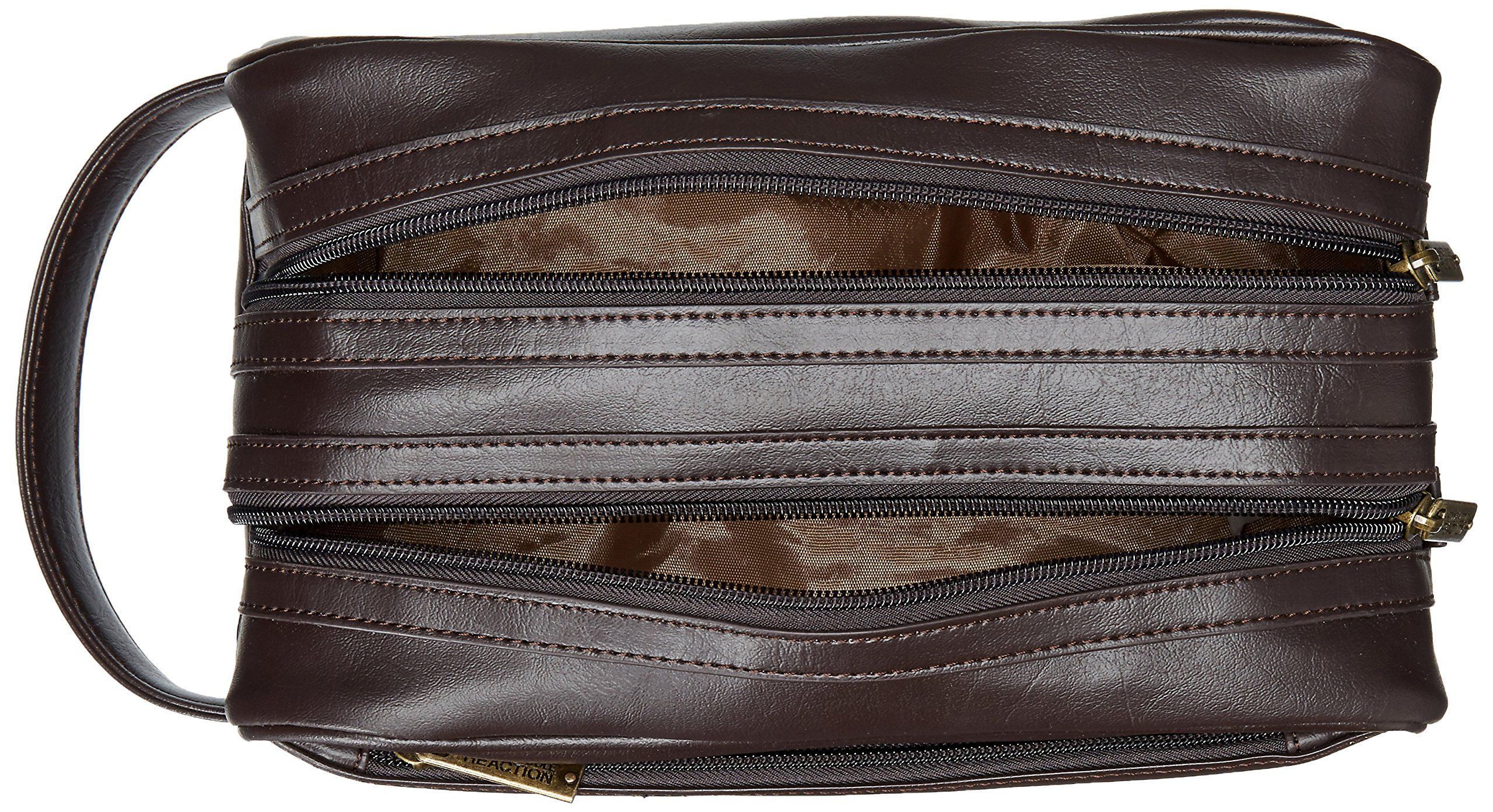 Cole REACTION Mens Double Zip Travel Kit Brown One