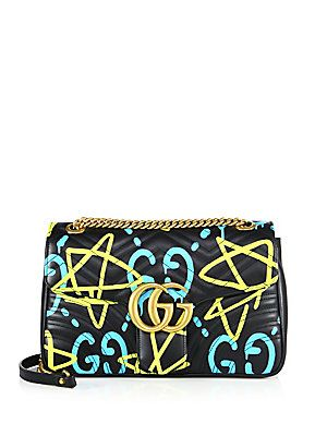 cfb5a0b87aee Gucci Ghost GG Medium Matelassé Leather Shoulder Bag - Black- - S ...