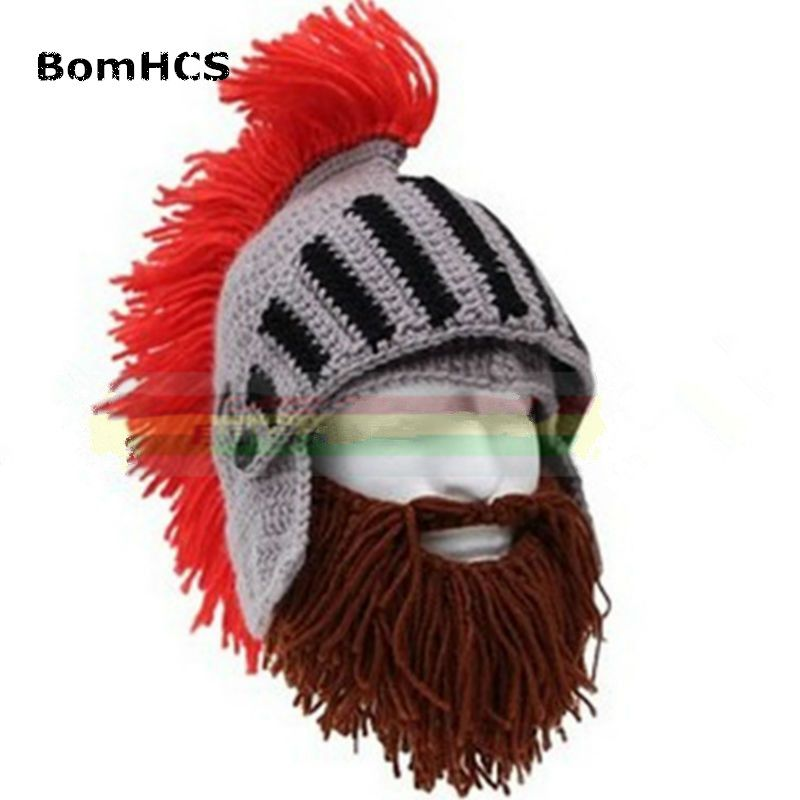 5328ba7143d BomHCS Red Tassel Cosplay Roman Knight Knit Helmet Men s Caps Original Barbarian  Handmade Winter Warm Beard Hats Funny Beanies
