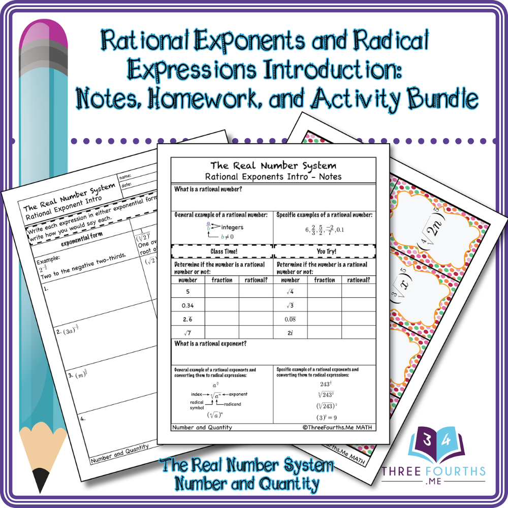 Rational Exponents and Radical Expressions Bundle