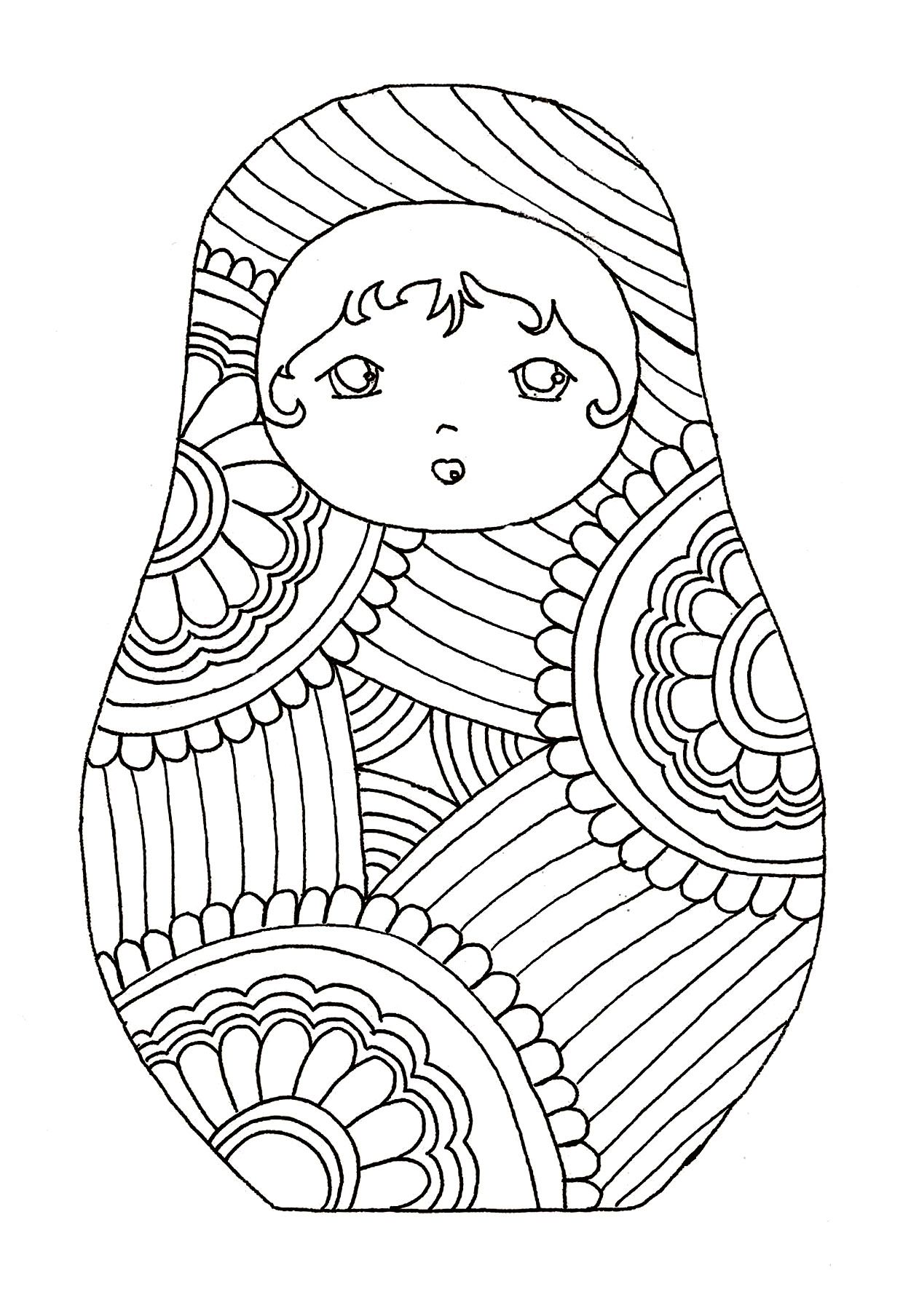 Free coloring page coloring-russian-dolls-9. | Noel russe ...