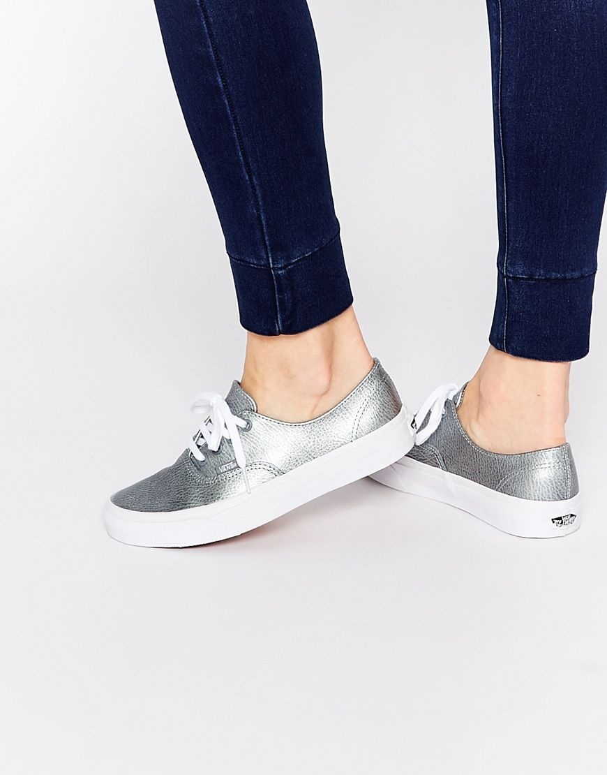ca32963bfc Image 1 of Vans Authentic Decon Silver Leather Trainers