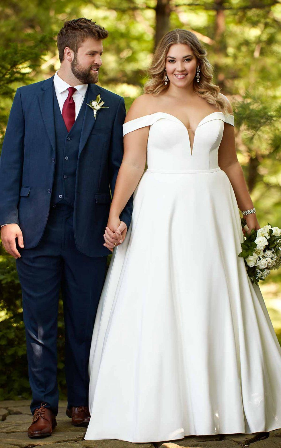 Classic satin plus size ballgown with pockets offthe